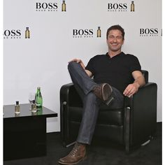 """""""Who's joining us tonight at #ParisGallery at 6pm to meet Gerard Butler?! #MANOFTODAY #BossBottled"""""""