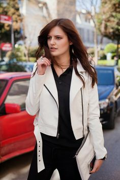 WHITE JACKET AND BLACK BLOUSE