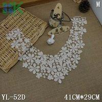 Lace collar 2pcs/lot Beige Flower Embroidery Neckline Costume Decor Sewing Applique Craft Collar Lace Trim Soluble Cotton Lace C