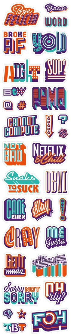 When all the coolest slang words meet up in one pack.Sticker pack for Viber. Available on Viber's sticker market. Commissioned by Sensitive Brands agency. Typography Letters, Typography Poster, Graphic Design Typography, Lettering Design, Logo Design, Web Design, Japanese Typography, Type Design, Design Art