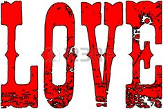 The word love in red on a white Background