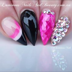 Black and Opalescent Pink Negative Space Nails With Swarovski Crystals