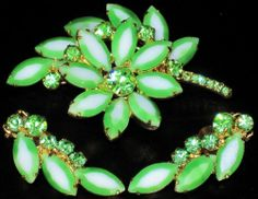Juliana for Tara Green White Rhinestone Pin Earring Set | eBay
