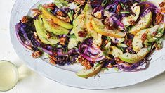 Roasted Cabbage Salad with Pears & Pecans and Pear Brandy Dressing Roasted Cabbage, Cabbage Salad, Roasted Salmon, Red Cabbage, Pecan Recipes, Healthy Recipes, Pear Brandy, Pear Salad, Toasted Almonds
