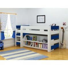 Seconique Lollipop Boys Mid Sleeper Bed in White and Blue | Furniture123