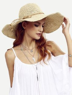 Beige Collapsible Large Brimmed Straw Hat — € --------------color: Beige size: one-size Cowboy Hats For Sale, Kids Cowboy Hats, Hats For Women, Clothes For Women, Knit Beanie Hat, Beanies, Boho Fashion, Womens Fashion, Budget Fashion