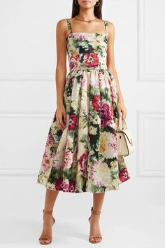 Multicolored duchesse silk-satin Concealed zip fastening along back silk Dry clean Made in Italy Simple Dresses, Pretty Dresses, Beautiful Dresses, Short Dresses, Satin Midi Dress, Satin Dresses, Floral Midi Dress, Floral Dresses, Floral Fashion