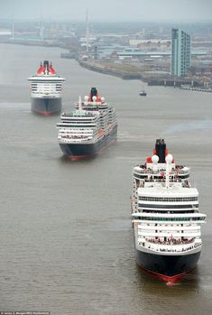 The three mighty Cunard Queens on the River Mersey, Liverpool, England. The world's largest and grandest ocean liner, the Queen Mary 2 is joined for the first time on the River Mersey with the Queen Victoria and Queen Elizabeth for Cunard's anniversary. Liverpool Waterfront, Liverpool Town, Liverpool Docks, Liverpool History, Liverpool England, Hotel Istanbul, Cunard Ships, Hotel Paris, Merchant Navy