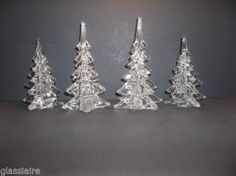 "Vintage Art Glass Christmas Tree SET OF 4 CRYSTAL CLEAR 8"" 6"" 7.75"" 6"""
