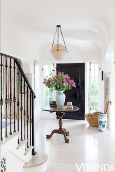 CLASSIC English or American Chippendale Tea Table used here in an elegant front entryway