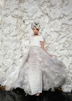The Gorgoeus Tanya Dzaihleva in an exquisite Chanel Haute Couture Gown with an embroidered mousseline skirt and a nautical couture top with a Maison Michel Hat from the Chanel Haute Couture Collection Spring 2009