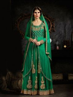 Green Art Sillk Anarkali Suit with Resham Embroidery Work