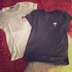 Brandy Melville t shirt bundle (alien and fuk u) Both worn a couple times. No holes, stains, ect. Hits at the hip. Super soft cotton (60% cotton 40% micromodal) Brandy Melville Tops Tees - Short Sleeve
