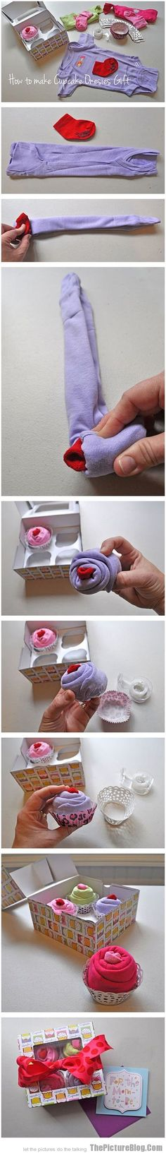 """How to make """"cupcakes"""" out of onesies. Adorable for shower gift."""