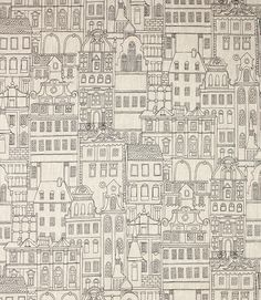 A contemporary fabric in monochrome, with a pattern featuring outline drawings of several buildings. This fabulous fabric is 100% Linen, giving the contemporary design a rustic feel. It is the perfect fabric to use when making curtains or blinds.Buy this fabric online or from one of our curtain fabric shops in Burford and Cheltenham.