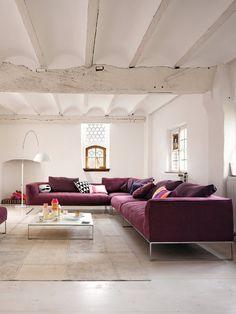 white + purple (via leeverlasting: Living Room Interior Design...