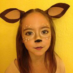 Homemade costume- little deer / doe. Felt ears on hair clips and makeup.