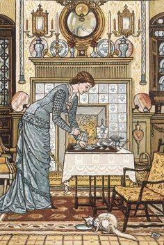 My Lady's Chamber by Walter Crane. Frank knew Walter Crane, as they were part of the same Brotherhood. This illustration shows an ideal Arts & Crafts house. Walter Crane, She And Her Cat, Art Nouveau, Photo Chat, Aesthetic Movement, English Artists, Beautiful Homes, House Beautiful, Beautiful Things
