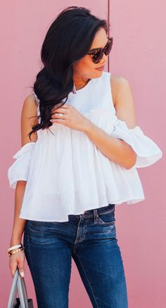 #summer #outfits White Cold Shoulder Blouse + Navy Skinny Jeans