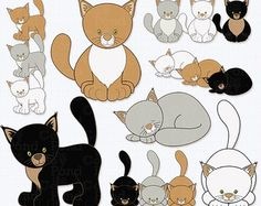 Clip art outline kittens - Google Search