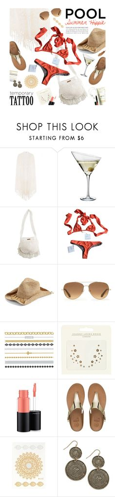 """Temporary tattoo for the pool"" by magdafunk ❤ liked on Polyvore featuring Anna Kosturova, Eva Solo, Billabong, Acacia Swimwear, Flora Bella, Stella & Dot, River Island, MAC Cosmetics, FitFlop and Summer"