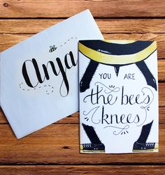 FREE printable greeting card (You are the bee's knees) available at placetofind.co.za