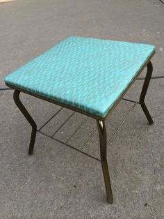 Turquoise and Gold Ottoman // Hollywood by ModernaireMCMStudios