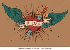 Find vector heart with wings and knife Stock Images in HD and millions of other royalty-free stock photos, illustrations, and vectors in the Shutterstock collection. Cute Tattoos, Leg Tattoos, Sleeve Tattoos, Tattoos For Guys, Circus Nails, Ed Hardy Designs, Heart With Wings Tattoo, Tatto Old, Girl Face Drawing