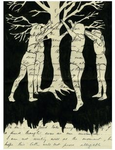 Girls with Tree, c2010, Olivia Jeffries, ink on found paper, England