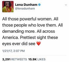 """RT @lenadunham """"prettiest sight... ever."""" #womensmarch #notmypresident"""