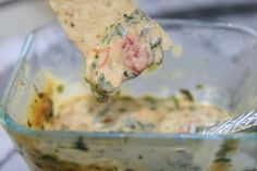 Easy Hot Spinach Salsa Queso Dip - http://haystacksandchampagne.blogspot.com/2010/10/easy-spinach-salsa-queso-dip.html
