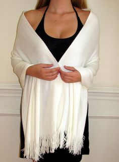 Ivory White Cashmere Pashmina Knit Wrap Shawl Soft Luxury , a little lighter and shorter