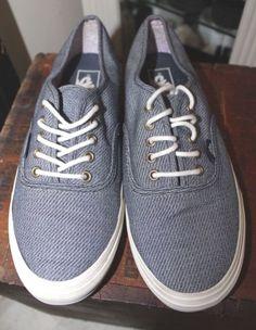 8f32a7d8d4cb4c VANS Blue Canvas Loafer Tennis Shoe Men 7.5 Women 9