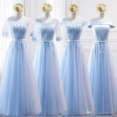 4 Styles Long Bridesmaid Dress Blue Bridesmaid Dresses 2018 Elegant Lace  Tulle A-Line Maid 0e57da4f26cd