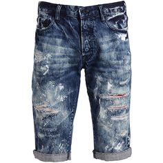 PRPS Distressed Slim-Fit Denim Shorts ($290) ❤ liked on Polyvore featuring men's fashion, men's clothing, men's shorts, mens slim fit shorts, mens cotton shorts, mens blue jean shorts, mens denim shorts and slim fit mens clothing