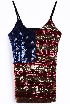 #SheInside Blue Sequined America Flag Spaghetti Strap Cami for 4th of July