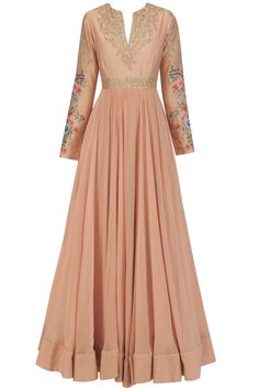 Peach Floral and Sequins Embroidered Kalidaar Kurta Set