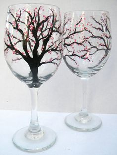 Hand Painted Wine Glasses Cherry Blossoms by TheScarletLine Wine Glass Crafts, Wine Craft, Wine Bottle Crafts, Diy Wine Glasses, Hand Painted Wine Glasses, Large Wine Glass, Wine Glass Designs, Decoration, Glass Art