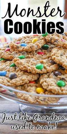 Grandma's Monster Cookies Easy No Bake Desserts, Delicious Desserts, Dessert Recipes, Yummy Food, Dessert Ideas, The Best Monster Cookie Recipe, Cookie Monster, Betty Crocker Monster Cookies Recipe, Monster Cookie Recipes