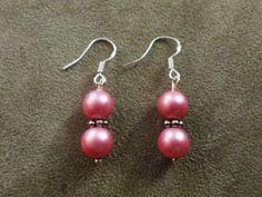 Silver-Plated-Pink-Plastic-Beaded-Hook-Earrings-US-Seller-Fast-Shipping #pink #earrings #Valentine