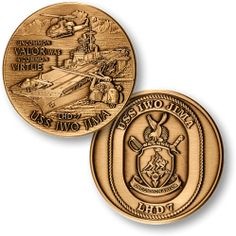 picture shows size against regular round challenge coin. Navy Marine, Marine Corps, Coin Collecting Books, Department Of The Navy, Military Challenge Coins, Iwo Jima, Coin Values, Merit Badge, Aircraft Carrier