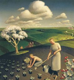 Grant Wood, 'Spring in the Country', (1941). Mr. Wood's style is so distinctive! His subjects have a solidness & substance to them. The composition is deceptive - it looks simplistic and somewhat sparse. Much more complex than it appears! I like it for it's uniqueness!