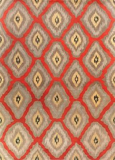 New Moon Rug   LW59B, Red/gold. This Eclectic, Ikat Inspired Design