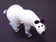 Glass White Bear Blown Bear Animal Glass Bears Art Glass Handmade Bear Flameingo Gift Blown Bear Glass White Bear Figurine Bear Miniature