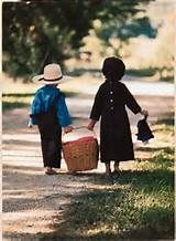 Amish children going on a picnic