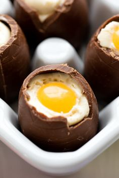 These Cheesecake Filled Easter Eggs are a fun Easter treat that are easy to make! They look just like an egg! Easter Recipes, Egg Recipes, Other Recipes, Easter Ideas, Potato Recipes, No Bake Desserts, Dessert Recipes, Graham, Jack Food