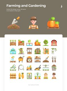 30 Farming and Gardening Icons Flat - Coffee Icon - Ideas of Coffee Icon #coffeeicon #coffee - Justicon Present Perfect flat design vector. All vector icons based on 64px grid #icon #icons #ui #design #sign Flat Design, Ui Design, Icon Design, Coffee Icon, Game Icon, Icon Collection, Pictogram, Vector Icons, Pixel Art