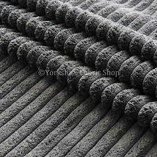Soft Chunky Super Jumbo Corduroy Upholstery Cushions Sofas Fabric Material Grey