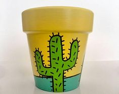 Idea Of Making Plant Pots At Home // Flower Pots From Cement Marbles // Home Decoration Ideas – Top Soop Flower Pot Art, Flower Pot Design, Flower Pot Crafts, Clay Pot Crafts, Cactus Flower, Diy Clay, Painted Plant Pots, Painted Flower Pots, Cactus Pot