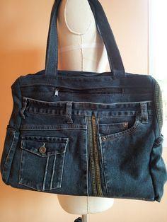 Upcycled recyclé Denim sac sac artisanal sac à par TawanShine